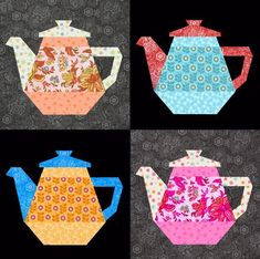 Tea Pot quilt block paper pieced quilt pattern PDF by BubbleStitch Patchwork Quilting, Paper Pieced Quilt Patterns, Quilt Block Patterns, Pattern Blocks, Pattern Paper, Quilt Blocks, Sewing Patterns, Quilting Projects, Quilting Designs