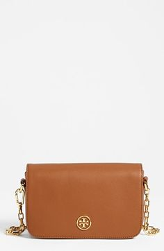 $365, Tan Leather Crossbody Bag: Tory Burch Robinson Mini Saffiano Leather Crossbody Bag. Sold by Nordstrom. Click for more info: https://lookastic.com/women/shop_items/60020/redirect