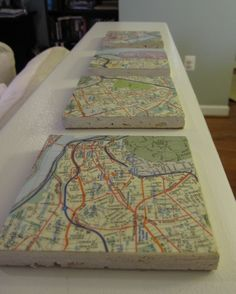 map coasters (printed from Google maps) of places we've visited together. nice for gifting.
