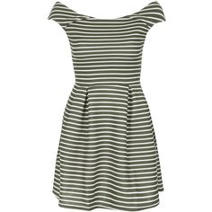**Off Shoulder Stripe Dress by Wal G ($41) ❤ liked on Polyvore featuring dresses, khaki, green stripe dress, off the shoulder dress, fitted dresses, green off the shoulder dress and walg