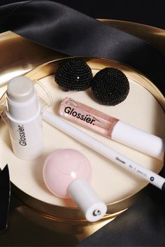 The limited edition Black Tie Set—for a glowy, Glossier party look