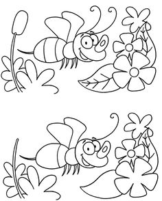Spot the difference. Spring Activities, Craft Activities For Kids, Infant Activities, Preschool Worksheets, Kindergarten Activities, Preschool Activities, Find The Difference Pictures, Bee Coloring Pages, Magic Squares