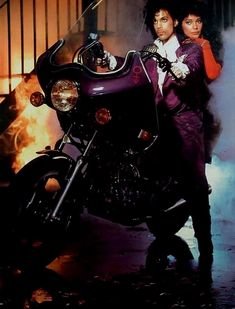 Alternative Purple Rain cover and movie poster photo - used in posters later on, but Prince's ego couldn't have the leading lady on the bike with him... happy 30th!