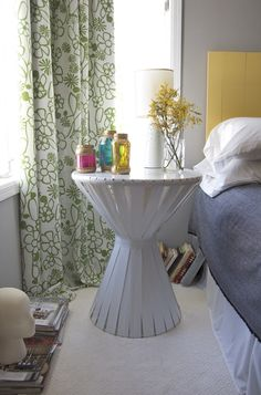 Interesting DIY bedside table with lots of possibilities for variation; good tutorial with pics.