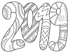 2019 Text Malvorlagen - Happy New Year Coloring Pages - New Year Coloring Pages, Colouring Pages, Adult Coloring Pages, Coloring Pages For Kids, Coloring Sheets, Coloring Books, New Years Activities, New Year's Crafts, Happy New Year 2019