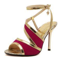 Fashion Stiletto High Heel Ankle Strap Red PU Sandals