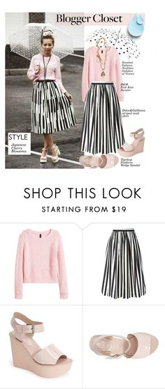 """""""Blogger closet: Pink sweater&striped midi skirt&Platform wedge sandal"""" by hamaly ❤ liked on Polyvore featuring H&M, Dolce&Gabbana, Topshop, StreetStyle, Spring, blogger, BloggerStyle, waystowear and pleatedmidiskirt"""