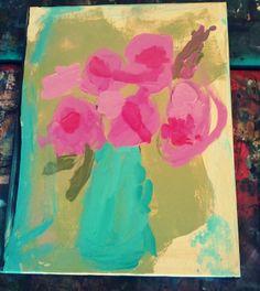 A little artsy: flower paintings.
