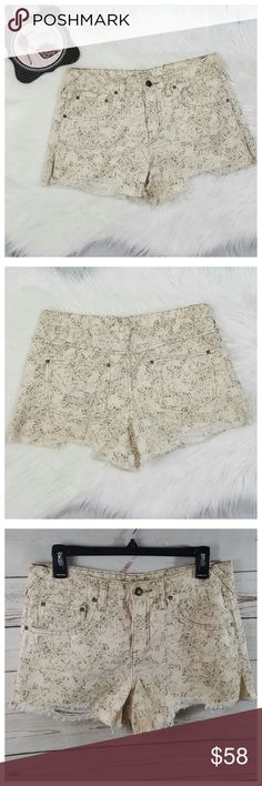 Free People Cream Print Cutoff Denim Shorts 27 Free People Cream Print Cutoff Denim Shorts. Mid-rise waist. 100% cotton.  Women's size 27. Approximate flat lay measurements in pic 4.  Overall very good condition with minimal wear. Free People Shorts Jean Shorts