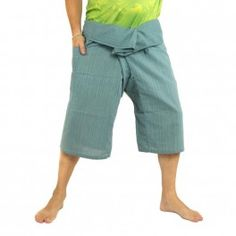 3/5 pantalones de pescador tailandés - azul - algodón
