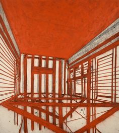 Tony Bevan -  Red Ceiling, 1989, Charcoal and Acrylic on Canvas, 289cm x 258cm