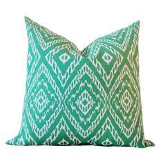 Emerald Green Pillow - Green Ivory Ikat Pillow Cover -  Geometric Pillow - Throw Pillow - Modern Green Pillow by MotifPillows on Etsy https://www.etsy.com/listing/169073717/emerald-green-pillow-green-ivory-ikat