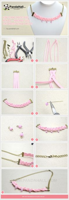 How to Make Braided Bead Necklace - Handmade Suede Cord Braided Necklace Idea by vickyhall | Project | Jewelry / Necklaces | Kollabora