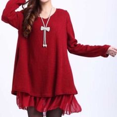 ❤️HP!❤️ Bow Chiffon Sweater Dress [red] NWT red sweater dress with chiffon underlay. Peek-a-boo back shows chiffon layer and 3 bows. Sz. XL fits more like a L. - Sweaters