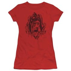 Trevco DC Comics 'Harley Quinn' Tee (150 SEK) ❤ liked on Polyvore featuring tops, t-shirts, plus size, red t shirt, cotton t shirts, plus size tops, plus size women's t shirts and plus size graphic t shirts