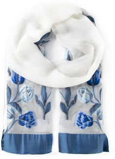 Armani Embroidered Scarf in Blue (white)