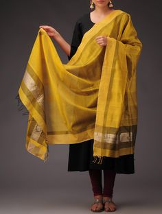 Buy Yellow Golden Maheshwari Silk Cotton Dupatta Accessories Dupattas Maheshwar Magic Festive and Sarees Online at Jaypore.com