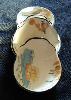 LOVELY UNUSUAL BURLEIGH WARE LILY POND TOAST RACK WITH JAM/CONSERVE DISHES (02/28/2012)