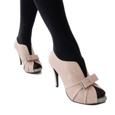 $17.50 Casual Stylish Stiletto Heel Women's Pumps With Ruffles Bowknot and Peep Toe Design