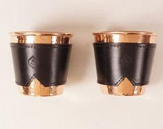 Copper glasses with black leather sleeve
