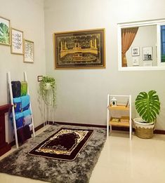 30 Praying Room Ideas To Bring Your Ramadan More Beautiful Home Library Design, Home Room Design, Home Interior Design, House Design, Decoraciones Ramadan, Prayer Corner, Islamic Wall Decor, Beautiful Home Designs, Prayer Room