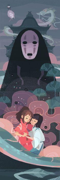 Spirited Away, Studio Ghibli, nna. Studio Ghibli Art, Studio Ghibli Movies, Hayao Miyazaki, Chihiro Y Haku, Spirited Art, Howls Moving Castle, My Neighbor Totoro, Animation, Animes Wallpapers