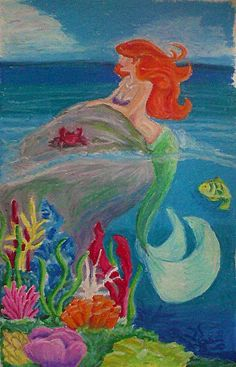 oil pastel the little mermaid~Would like to do something similar with chalk this summer. Oil Pastel Drawings Easy, Oil Pastel Paintings, Oil Pastel Art, Oil Pastels, Art Drawings For Kids, Chalk Drawings, 3d Drawings, Disney Paintings, Collage
