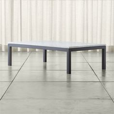 Shop Parsons White Marble Top/ Dark Steel Base 60x36 Large Rectangular Coffee Table.   The clean-lined, classic Parsons-style frame is crafted of hot-rolled steel, hand-welded and ground at each corner.