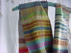 Susan Johnson: Avalanche Looms | perle cotton + unbleached linen + silk | rosepath | Avalanche, Wisconsin, U.S.A.