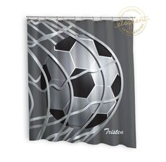 Soccer Shower Curtains   Sports Grey U0026 White   Soccer Shower Curtain   Boys  Or Girls Personalized Polyester Fabric #267