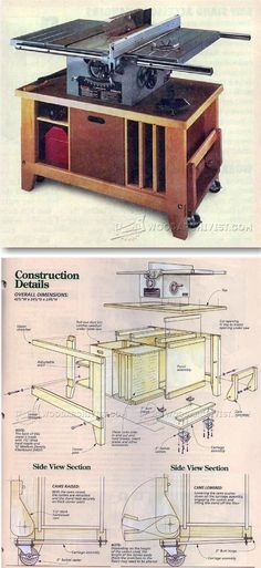 Table Saw Stand Plans - Table Saw Tips, Jigs and Fixtures   http://WoodArchivist.com