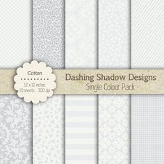 "Digital Paper Pack - Cotton Grey Single Colour Pack - 12 x 12"" Digital Scrapbook Paper #scrapbooking #scrapbook #paper #digiscrap #supplies #pages #check #cheetah #lace #stripes #sparkle #glitter #damask #grey #silver #white"