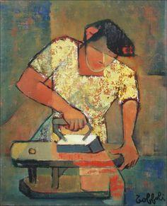 """Louis TOFFOLI - Huile sur toile  """" Femme au repassage, repasseuse"""" d'un format de 41 x 33 cm (6F)"""