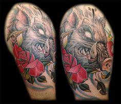 Tattoo collaboration by Flaco Martinez, Josh Lindley and guest artist Stefano Alcantara. www.AllOrNothingTattoo.com