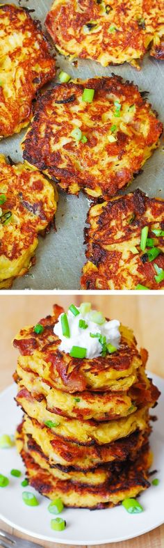 Bacon, Spaghetti Squash, and Parmesan Fritters. So unbelievably good! Kids love these - what a great way to incorporate veggies! Serve with a dollop of Greek yogurt. #gluten_free #food #meal