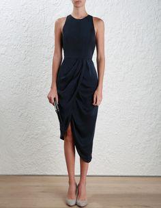 Zimmermann Sueded Drape Dress. Model Image.