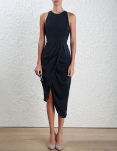 Zimmermann Sueded Drape Dress. Model Image.