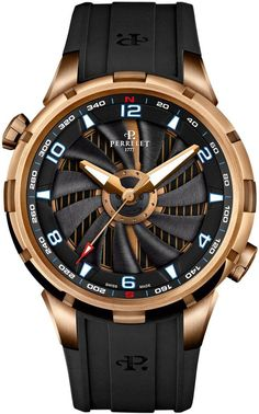 Perrelet Watch Turbine Yacht #bezel-bidirectional #bracelet-strap-rubber… #watchesformen
