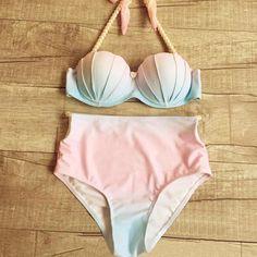 Gradient Push Up High Waist Shell Bikini