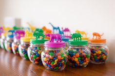 Animal topped Favor Jars from a Party Animal 1st Birthday Party via Kara's Party Ideas | KarasPartyIdeas.com (7)