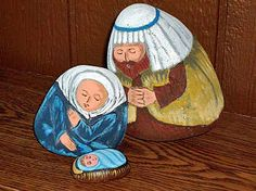 Hand-painted rock nativity figures (nativity sets / nativity scene figures)