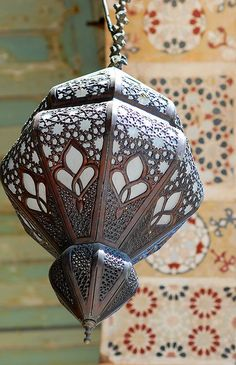 This is one type of Lantern in Damascus, Syria. It has the tear(water) shape and nice brown and dark texture with the bright white colour to shine it up. Moroccan Lanterns, Moroccan Decor, Moroccan Style, Hanging Lanterns, Candle Lanterns, Islamic World, Islamic Art, Islamic Architecture, Art And Architecture