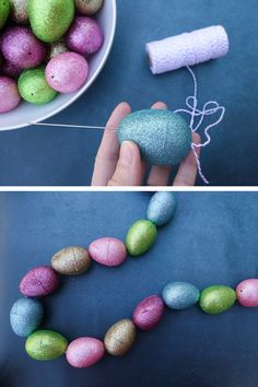 DIY Easter garland made with plastic eggs. Make this simple and affordable Easter decoration for your home with only a few supplies. Plastic Easter Eggs, Easter Egg Crafts, Easter Stuff, Easter Garland, Easter Wreaths, Diy Ostern, Diy Easter Decorations, Dollar Tree Crafts, Egg Decorating
