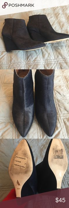 EUC navy calfhair booties Worn once! Navy calfhair wedge booties from Ava & Alden. Gold zipper in rear. Perfect condition. Smoke-free pet-friendly home. No trades, holds, or modeling. Ava & Alden Shoes Ankle Boots & Booties