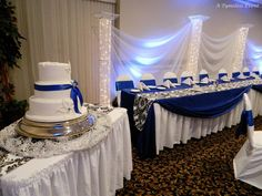 The Guest Tables Have Our Floor Length Tablecloths With Damask Satin  Runners And Royal Blue Squares As Well As .