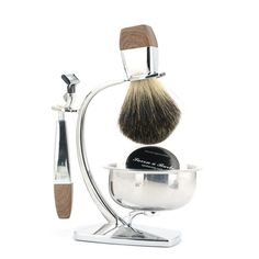 Shaving Set with Badger Hair Brush + Safety Blade Razor + Shaving Soap + Stand Stand + Bowl