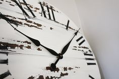 Handmade right here in Iowa.  White distressed wall clocks.  Free shipping nationwide. Walnut Wood Color, Dark Walnut, Farmhouse Clocks, Farmhouse Style, Handmade Clocks, Roman Numerals, Paint Finishes, Wood Colors, Large White
