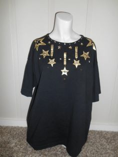 Vintage shirt top blouse 80s  90s   stars    by ATELIERVINTAGESHOP