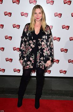 Super chic:Samantha Womack looked pretty in her floral jacked teamed with suede thigh-hig...