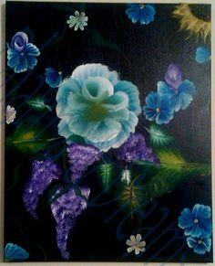 Painting Fiori Notturni 16x20 by DharmaandDreams on Etsy